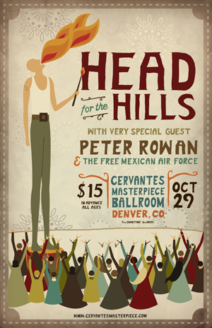 Created 2010 Halloween tour poster and advertisements for the band Head for the Hills. All text was hand written.