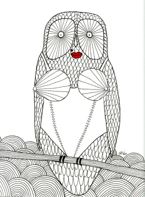 Madowl is an ink & marker illustration done for the Dial M for Madonna show in Los Angeles, CA that I was part of in May 2008. It was a 40 artist show curated by James St James and Steven Corfe.