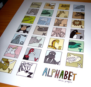 Illustrated Animal Alphabet originally illustrated for my niece, Grace. There are prints for sale, hand made gel transferred letter blocks and now magnets up in the shop.