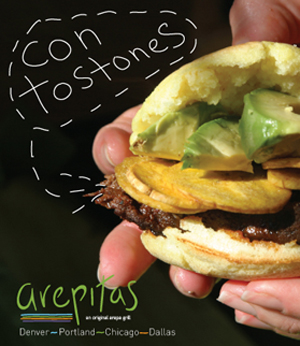 Designed and art directed the identity, menu and ad campaign for Arepitas restaurant.