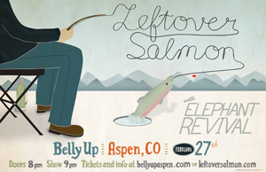 Poster design and illustration for the band Leftover Salmon to use on their winter tour.  I also created print and web ads.