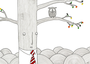 "Evaluation is an illustration done for the Birds of a Feather show in Denver, CO in 2008.  Ink and Marker - 20"" x 30"""