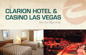 Full page advertisement created for Clarion Hotel & Casino in Las Vegas.