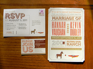 I created a wedding invitation set and stamp design for the Dudley's.  The couple wanted a poster look to their invite and they also wanted me to draw a couple illustrations of their favorite things…. horses and kayaks.  Sure!!
