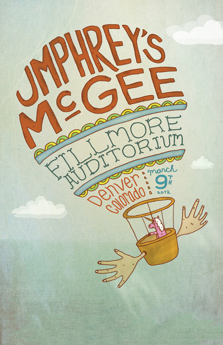 Poster illustration for an Umphrey's McGee show in Denver.