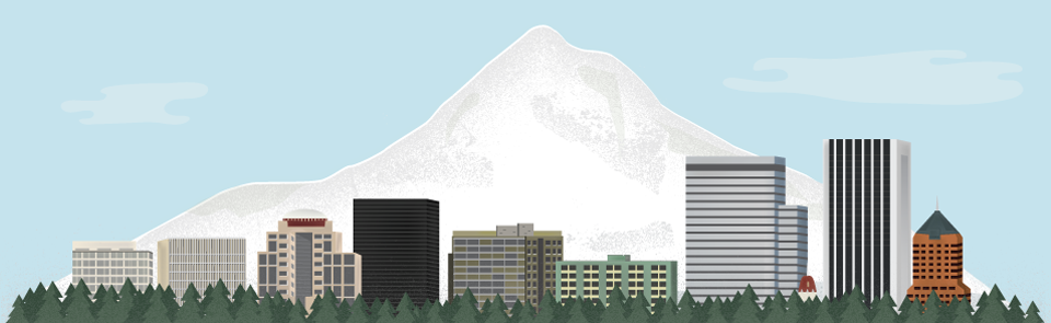An illustration of Mt. Hood with parts of the Portland skyline in the foreground that I did for a lawyer friends website out that way.