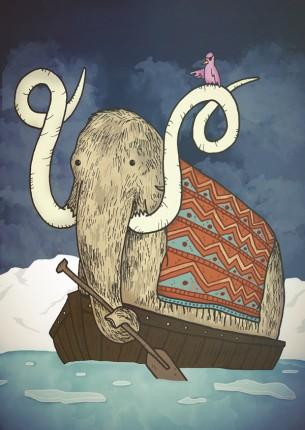 A Wooly Mammoth and his bird friend make a run for warmer land.