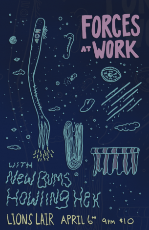 A poster for a Forces at Work gig in Denver.