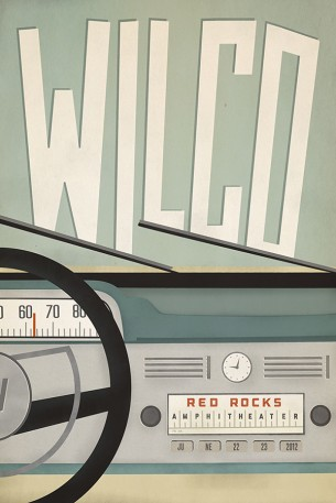 An unused poster design for a Wilco show at Red Rocks Amphitheater in Morrison, CO.