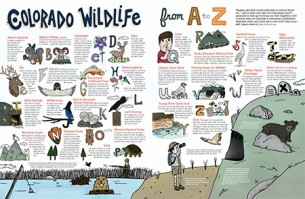 My Colorado Wildlife A-Z illustration that was used in the 2015 Colorado State Vacation Guide.